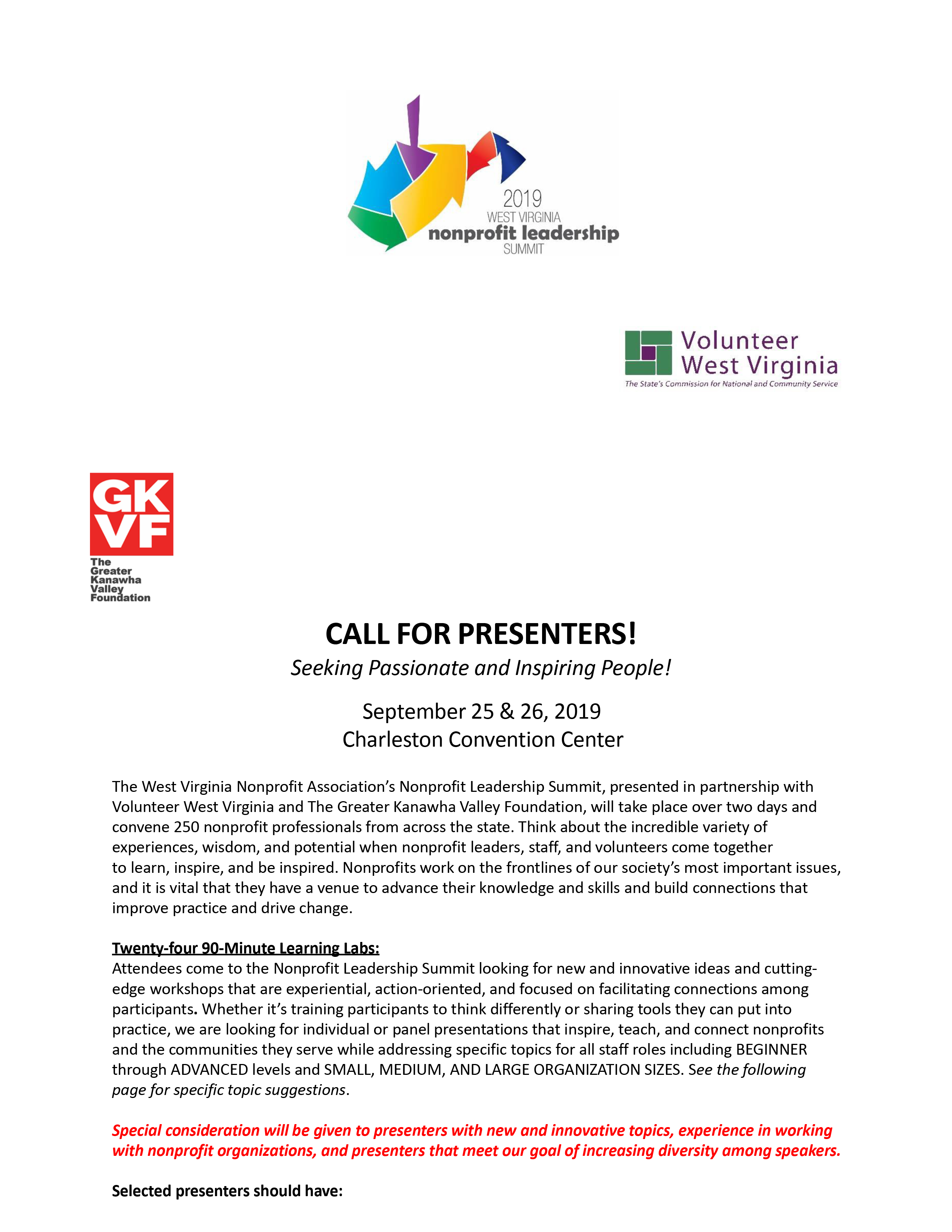 CALL FOR PRESENTERS! - The Greater Kanawha Valley Foundation